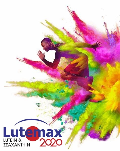 Omniactive Lutemax man jumpping from colourful powder